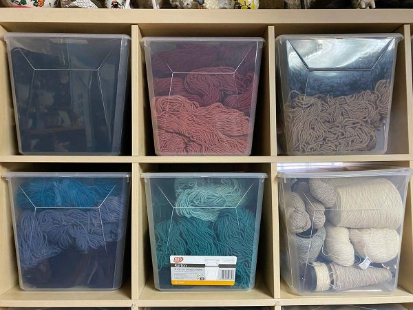 Storage boxes full of yarn